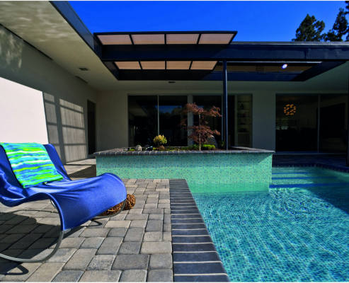 Comfortable seat by the pool.